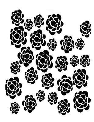 Pattern 5 flowers stencil 12x16