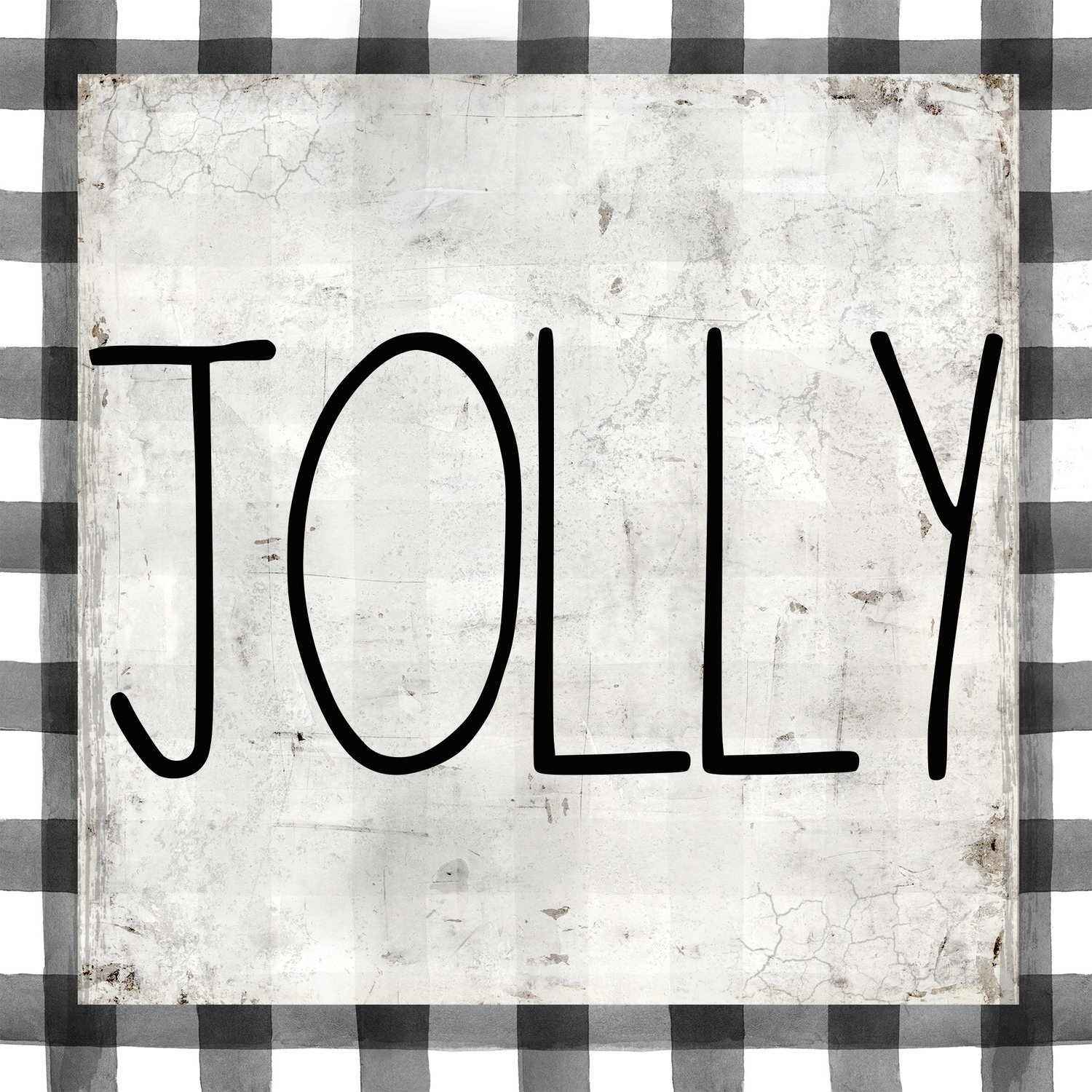 """Jolly"" black and white plaid Print on Wood and Print to be Framed"