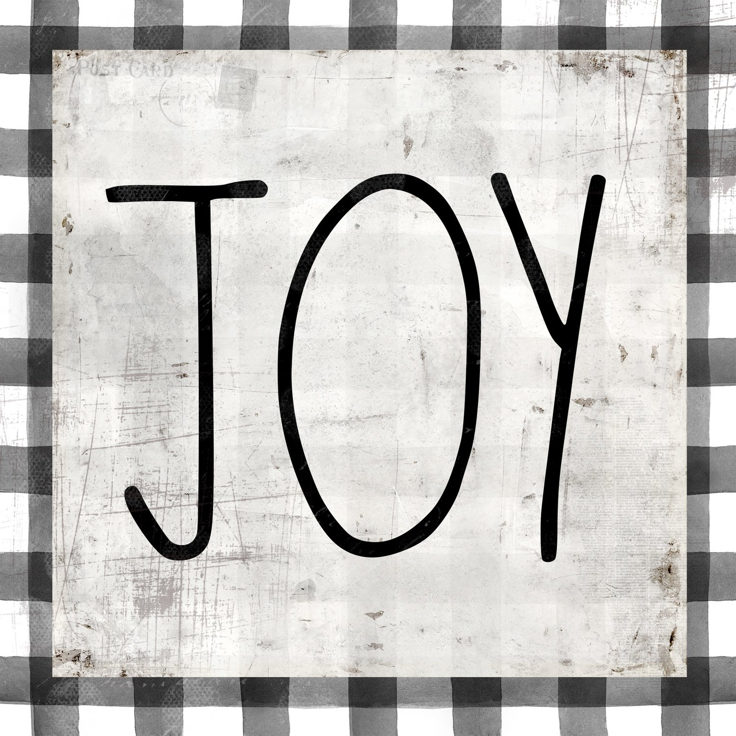 """Joy"" black and white plaid, Print on Wood and Print to be Framed"