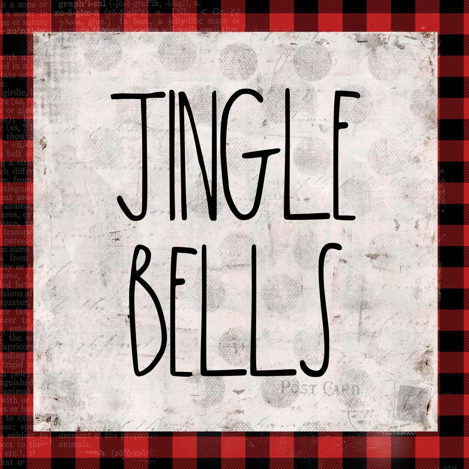 """Jingle Bells"" red plaid Print on Wood and Print to be Framed"