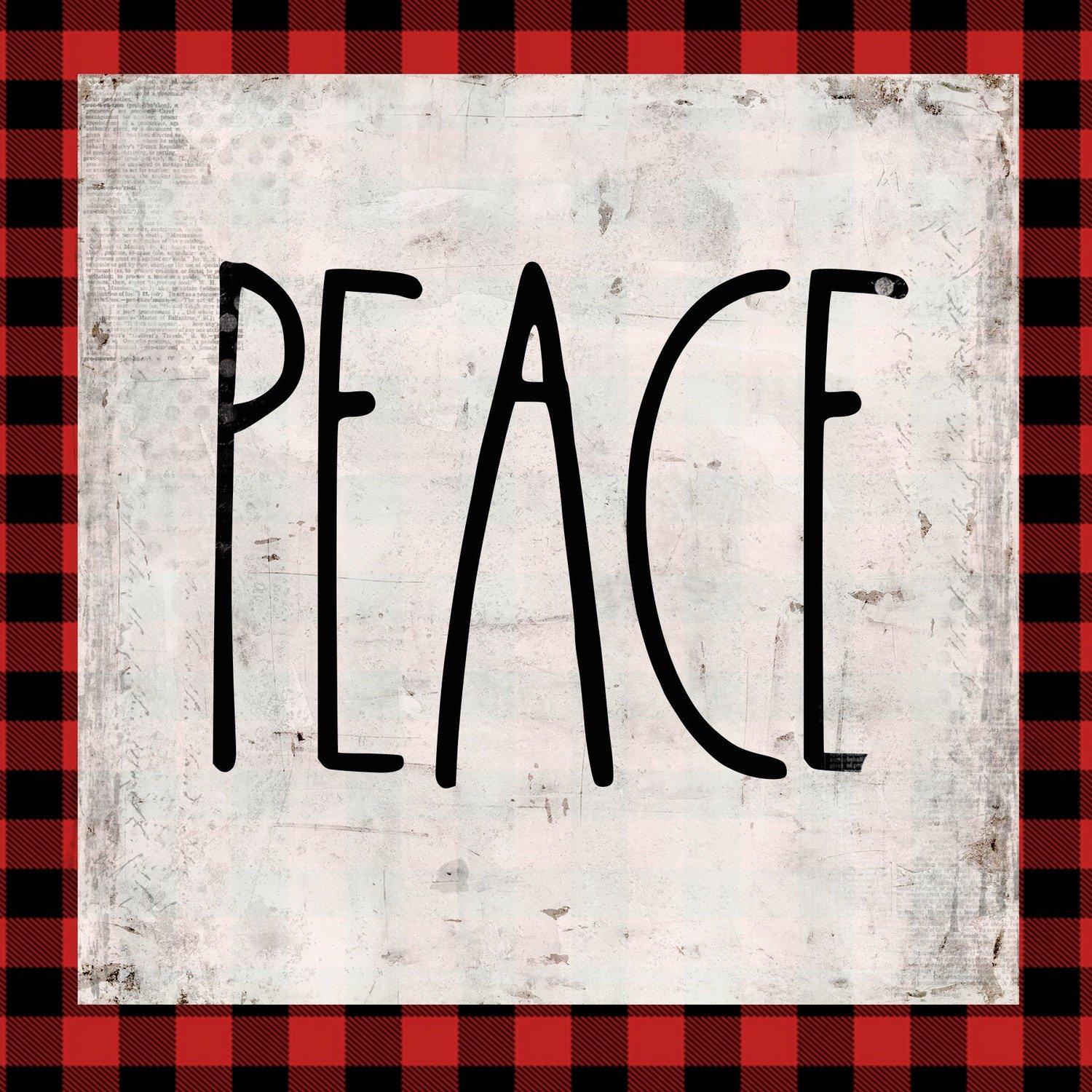 """Peace"" red plaid, Print on Wood and Print to be Framed"