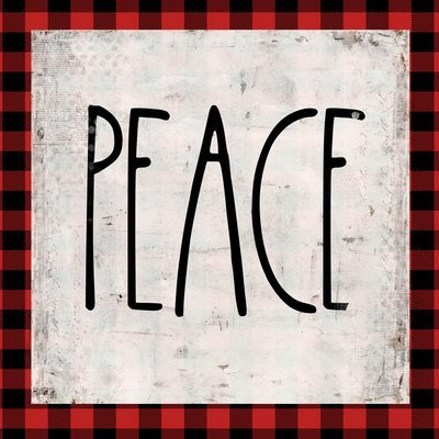 """""""Peace"""" red plaid, Print on Wood and Print to be Framed"""