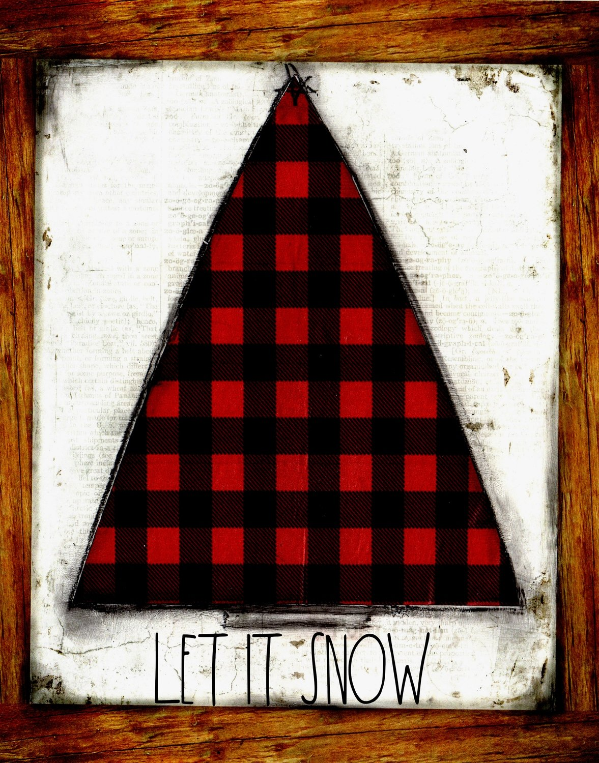 """Let it Snow"" red plaid Christmas tree, Print on Wood and Print to be Framed"