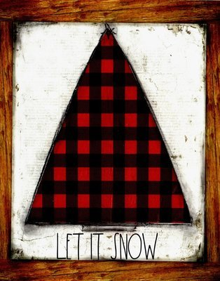 """""""Let it Snow"""" red plaid Christmas tree, Print on Wood and Print to be Framed"""