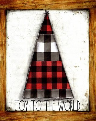 """""""Joy to the World"""" black and red plaid Christmas tree, Print on Wood and Print to be Framed"""