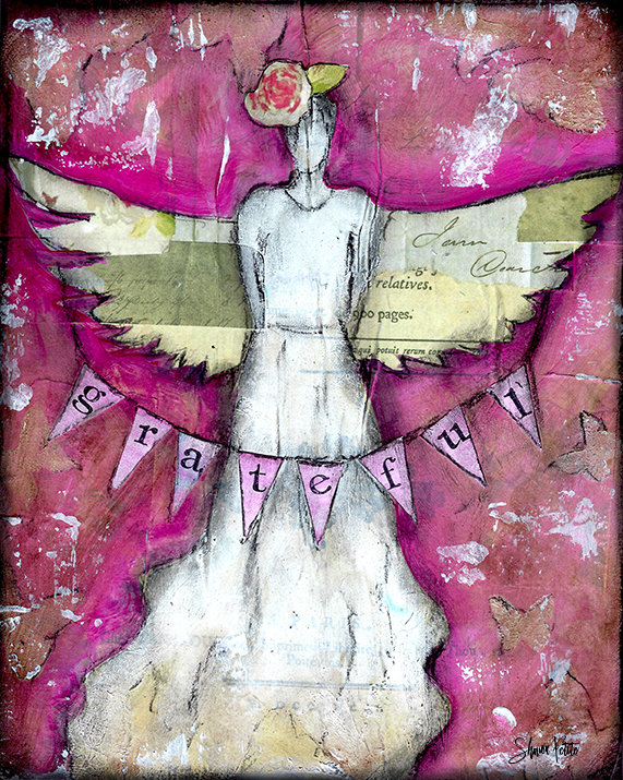 """Grateful Angel"" Print on Wood and Print 5x7 Overstock"