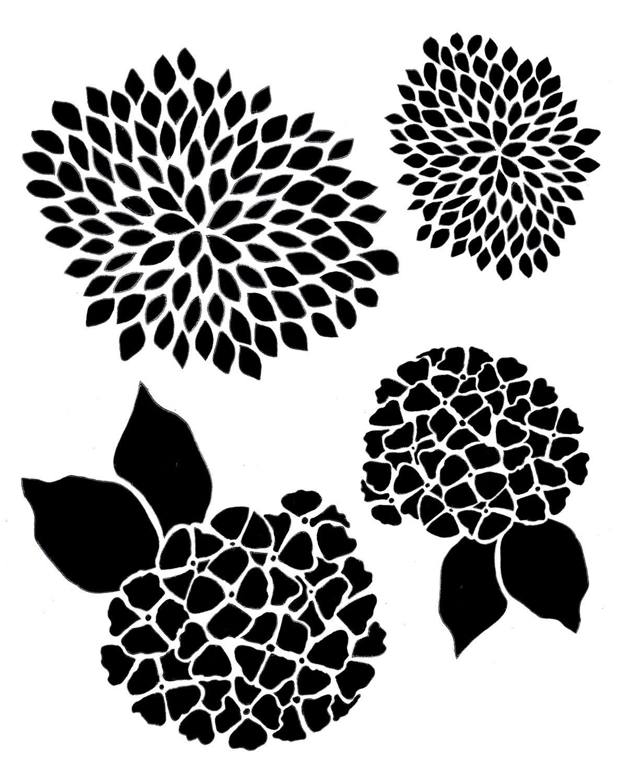 Flower Gang 4 Stencil 12x16