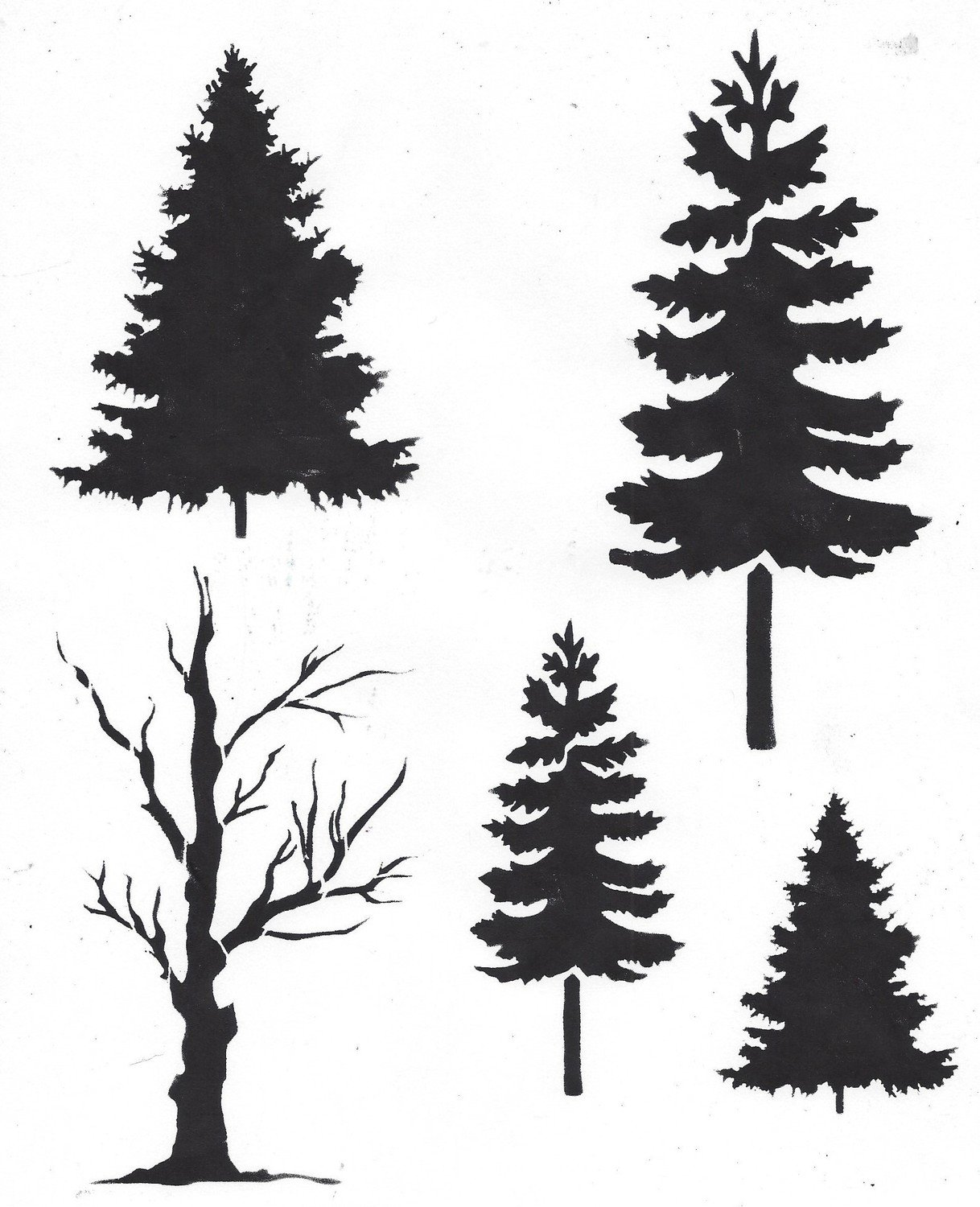 Trees with Masks stencil 12x16