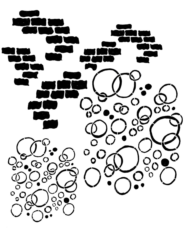 Bricks and bubbles 8x10 stencil
