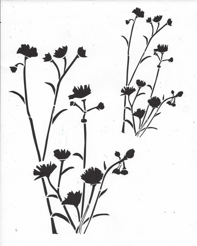 Wildflower Stencil 8x10