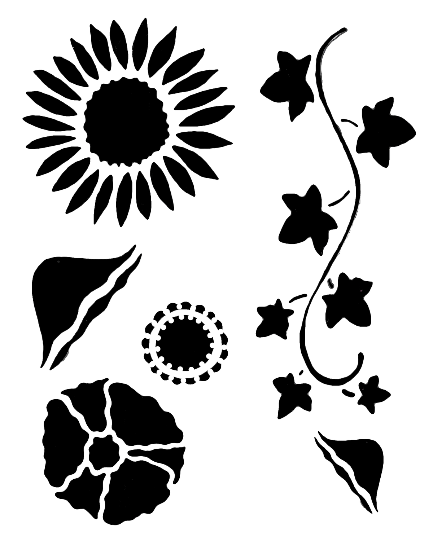 Flower gang 2 stencil 12x16