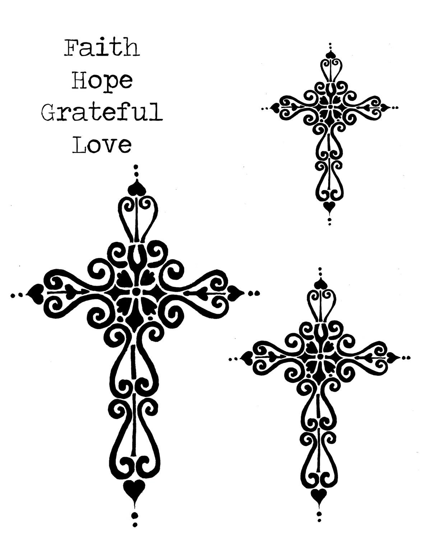 Cross 8x10 stencil