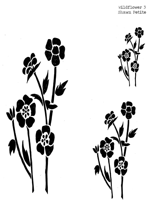Wildflower 3 stencil 8x10