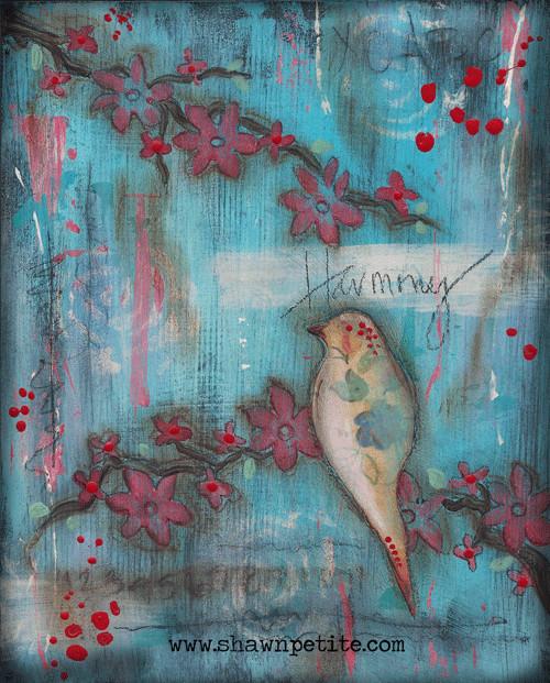 Harmony Bird print of the original on wood panel