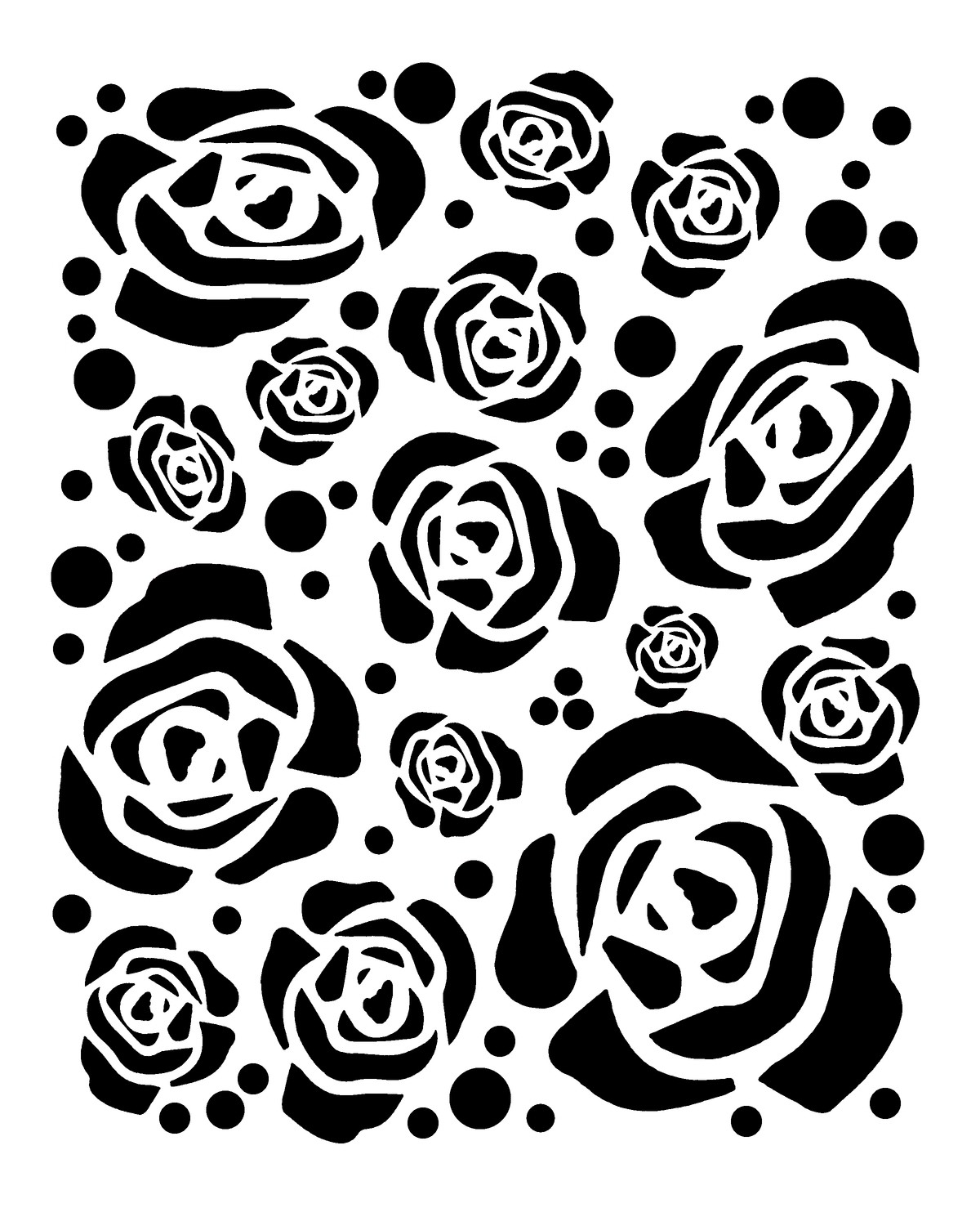 Large Roses 12x16 stencil