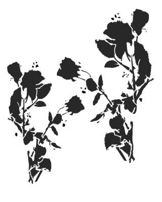 Messy Flower Silhouette 2 stencil 12x16