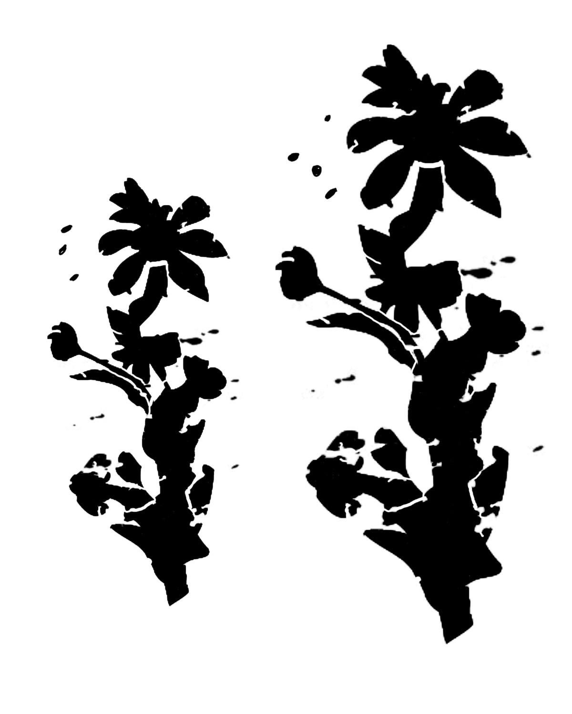 Messy Flower Silhouette 3 12x16 stencil