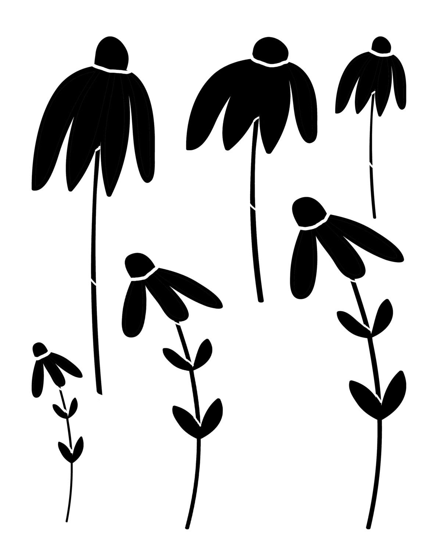 Sketched Flower 1 stencil 12x16
