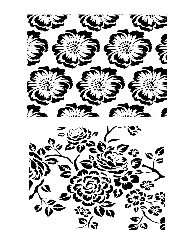 Vintage Wallpaper Duo stencil 8x10