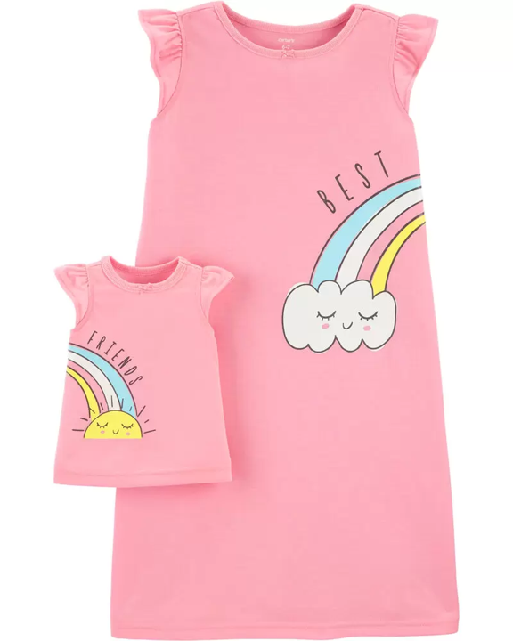 Set 2pz Pijama, Niña y muñeca, 4 años