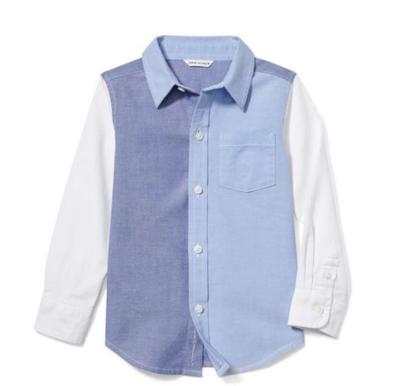 Camisa manga dos azules, Talla 10T