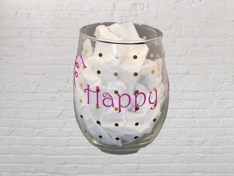 Happy Bday Wine Glass