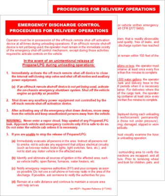 177.840(l) Emergency Discharge Control Procedures Card (for Propane/LPG)