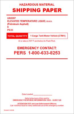 UN3257 Elevated Temperature Liquid, n.o.s. (Petroleum Asphalt)