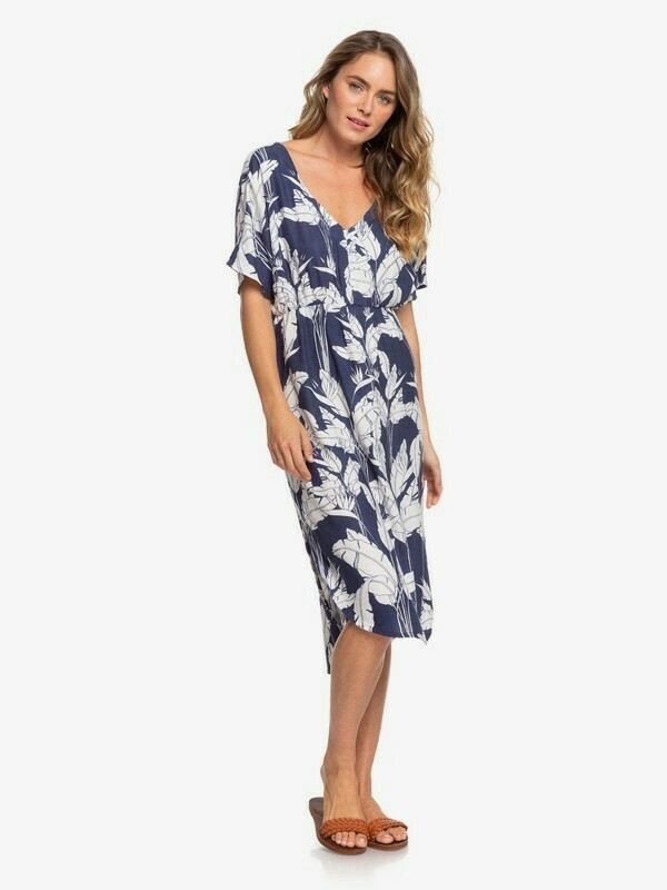 Roxy Flamingo Shades Short Sleeve Midi Dress