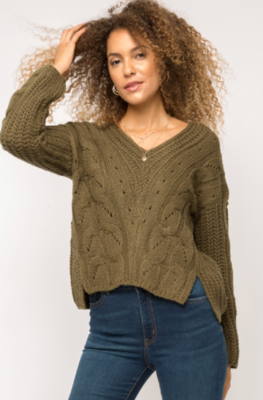 Mystree V-Neck Cable Knit Sweater