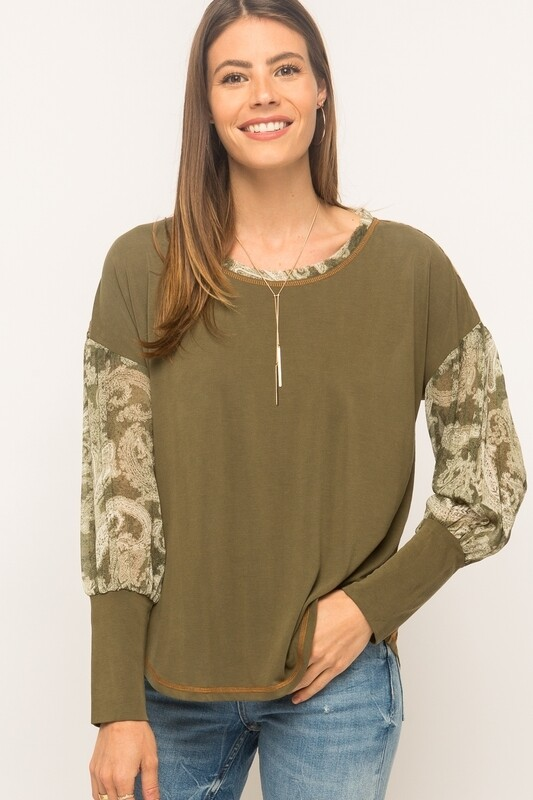 Mystree Mix Print sandwash Top