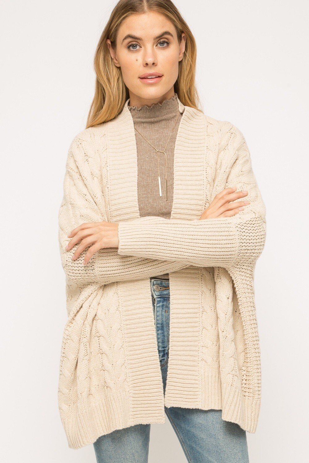 Mystree Cable Knit Cardi Cape
