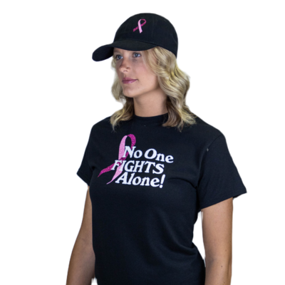 Bling Breast Cancer Ribbon Ball Hat Black