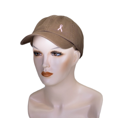 Embroidered Breast Cancer Ribbon Ball Hat Brown