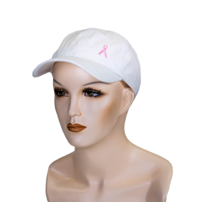 Embroidered Cancer Ribbon Ball Hat White