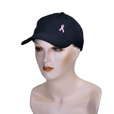 Embroidered Cancer Ribbon Ball Hat Black
