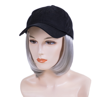 Ball Hat with Sewn In Synthetic Short Length Hair
