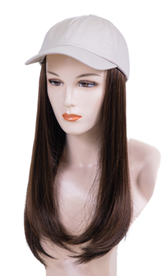 Ball Hat with Sewn In Synthetic Long Length Hair