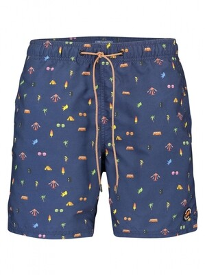 """A Fish Named Fred Zwemshort """"festival items""""22.03.251 blauw combi"""