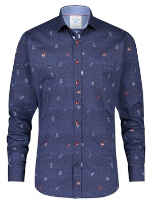 A Fish Named Fred Shirt 23.01.015 donker blauw