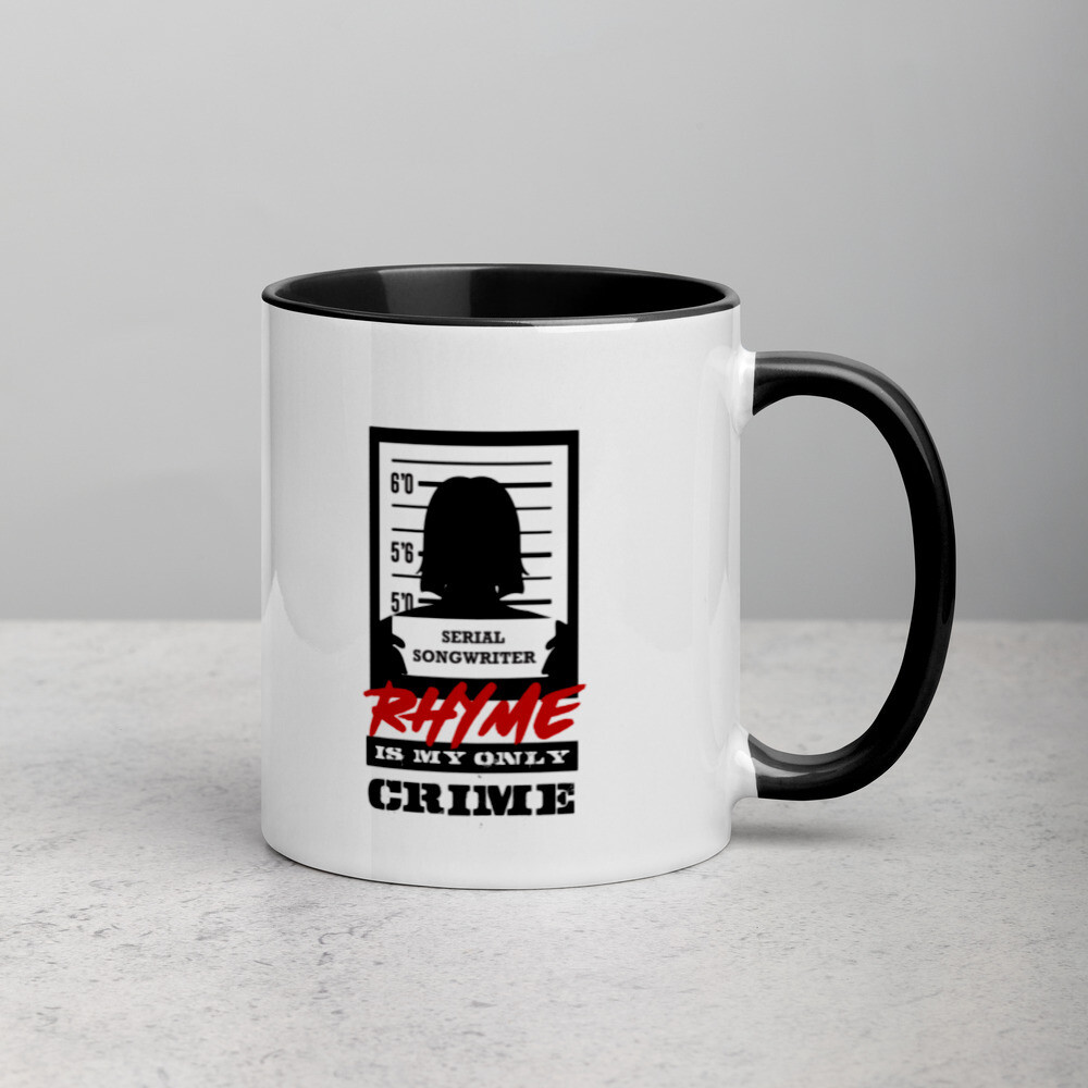 Rhyme is My Only Crime  Mug with Color Inside (Female)