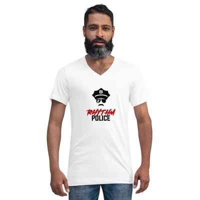 Rhythm Police Unisex Short Sleeve V-Neck T-Shirt (Light, Male)