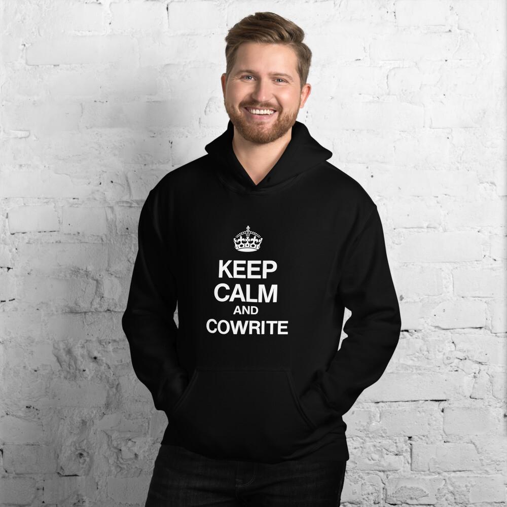 Keep Calm and Cowrite Unisex Hoodie (Dark)