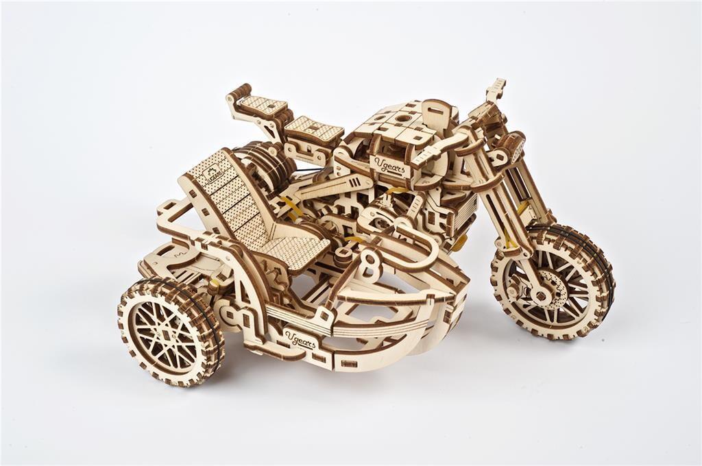 Moto Scrambler UGR-10 avec Side-Car UGEARS – Puzzle 3D Mécanique en bois