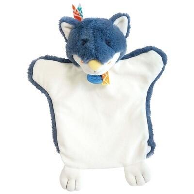 Doudou marionnette Loup bleu