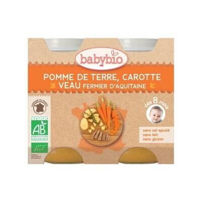 Petits pots pomme de terre carotte et veau - dès 8 mois - 2x200g