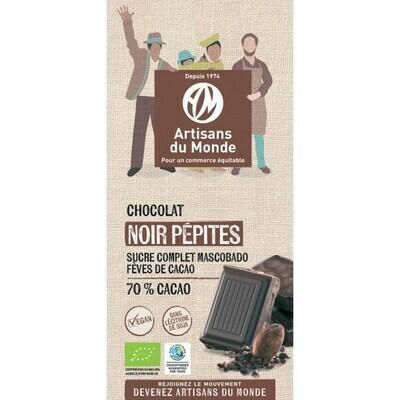 Chocolat noir 70% aux pépites de cacao - 100g