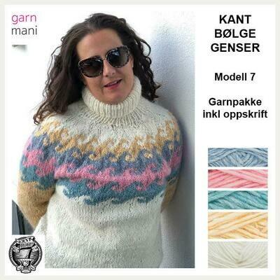 KANT® BØLGE GENSER KIT - HVIT/GUL (07)