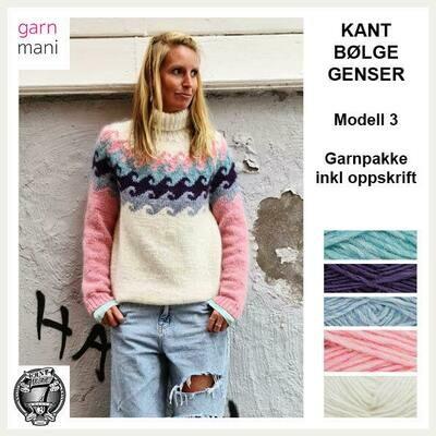 KANT® BØLGE GENSER KIT - HVIT/ROSA (03)