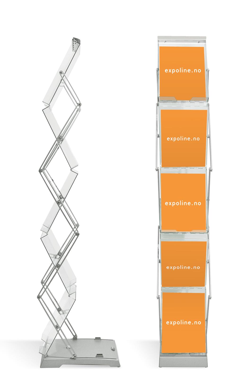 Brosjyrestativ dobbelt sammenleggbart inkl hardbag